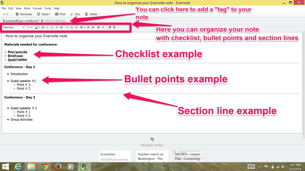 Note organization